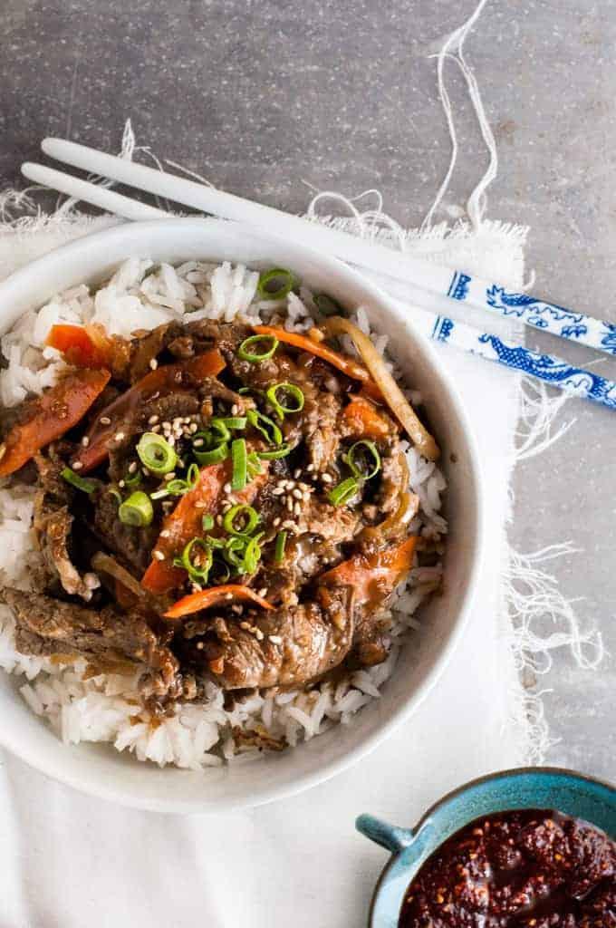 Homemade korean beef bowl