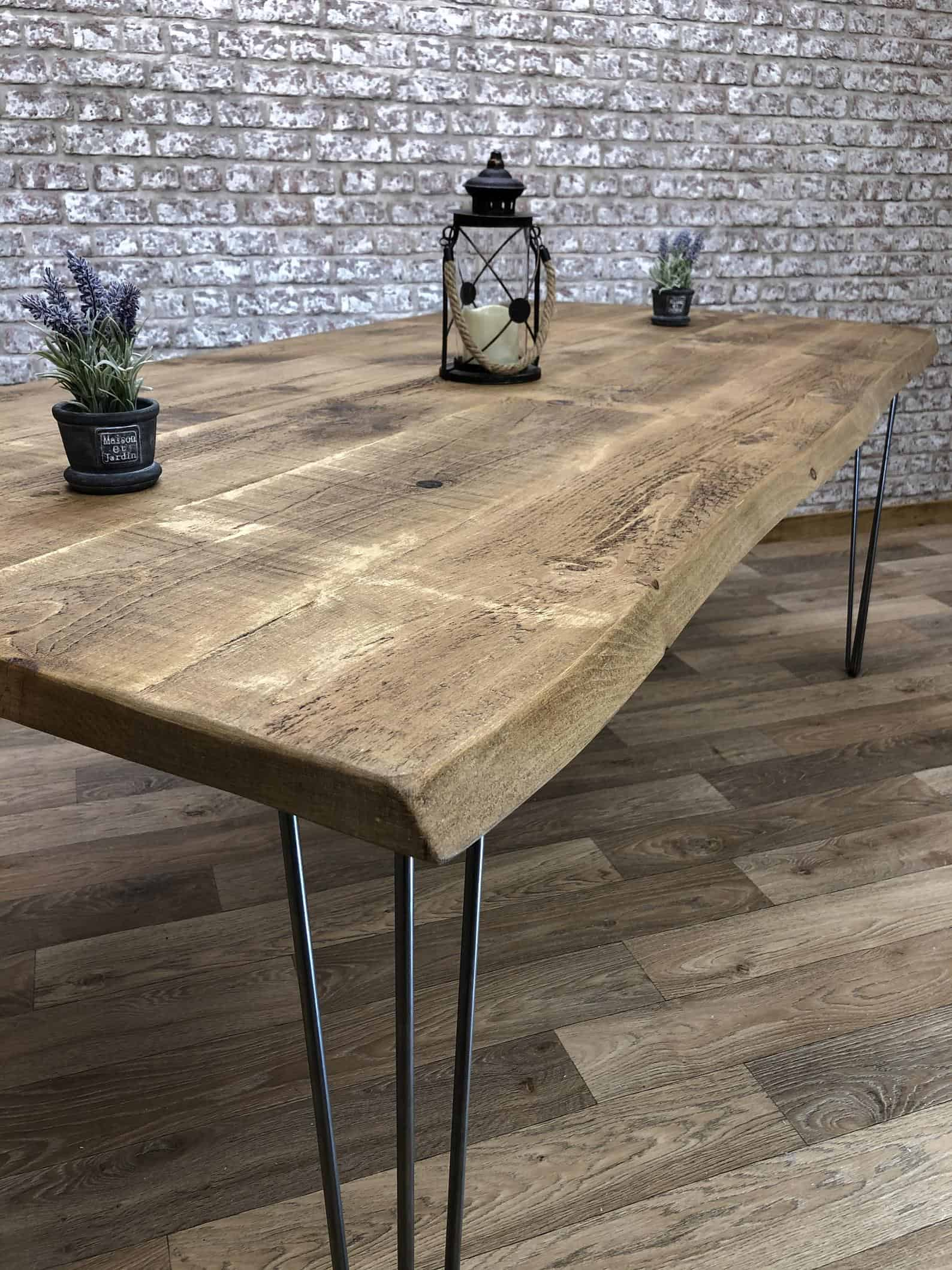 Industrial hairpin live edge table