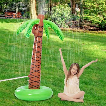 Inflatable palm tree sprinkler