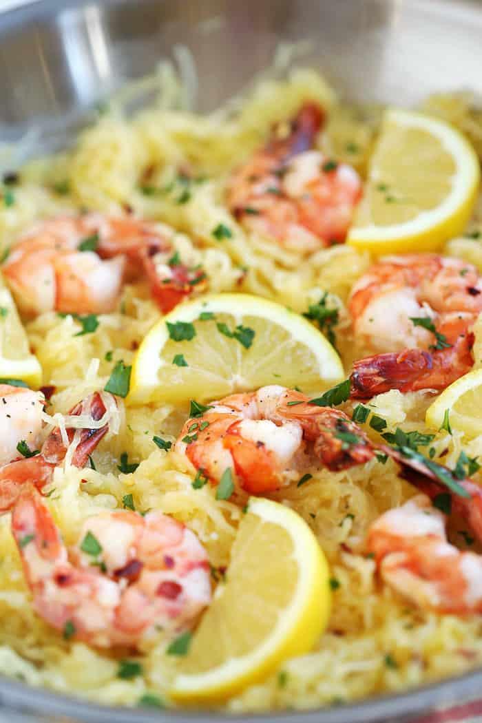 Lemon and herb spaghetti squash with roasted shrimp