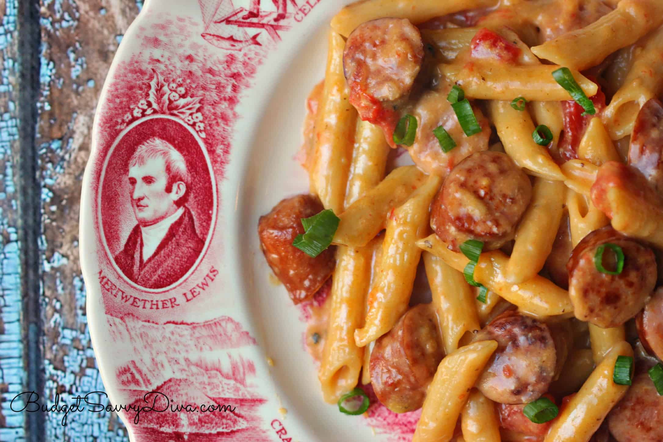 One pan cheesy smoked sausage pasta