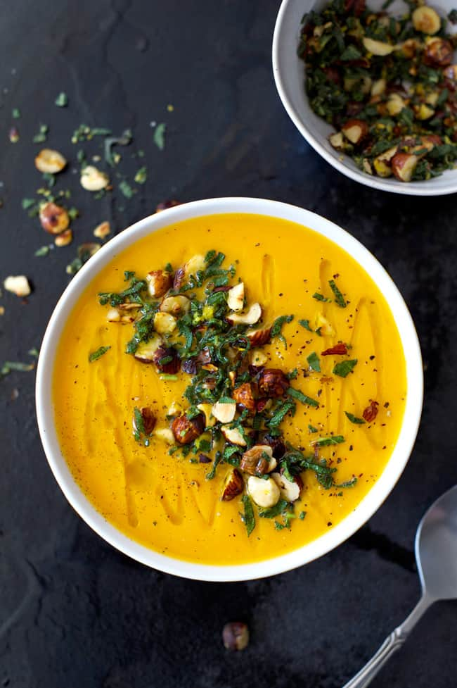 Roasted butternut squash and garlic soup with sage and hazelnut