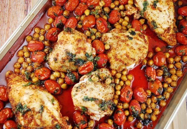Roasted chicken breast with tomatoes and garbanzo beans