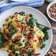 Roasted garlic and kale spaghetti squash with sundried tomatoes