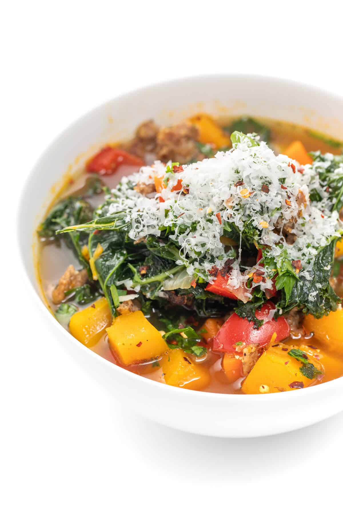 Sausage, kale, and butternut squash soup
