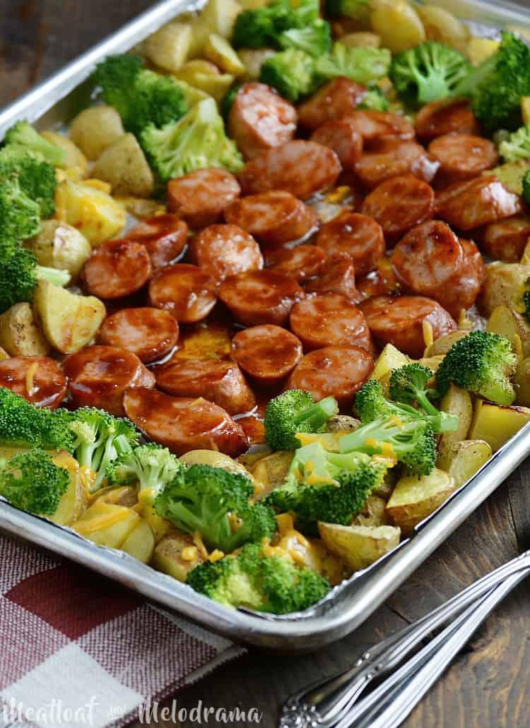 Sheet pan bbq smoked sausage and vegetable dinner