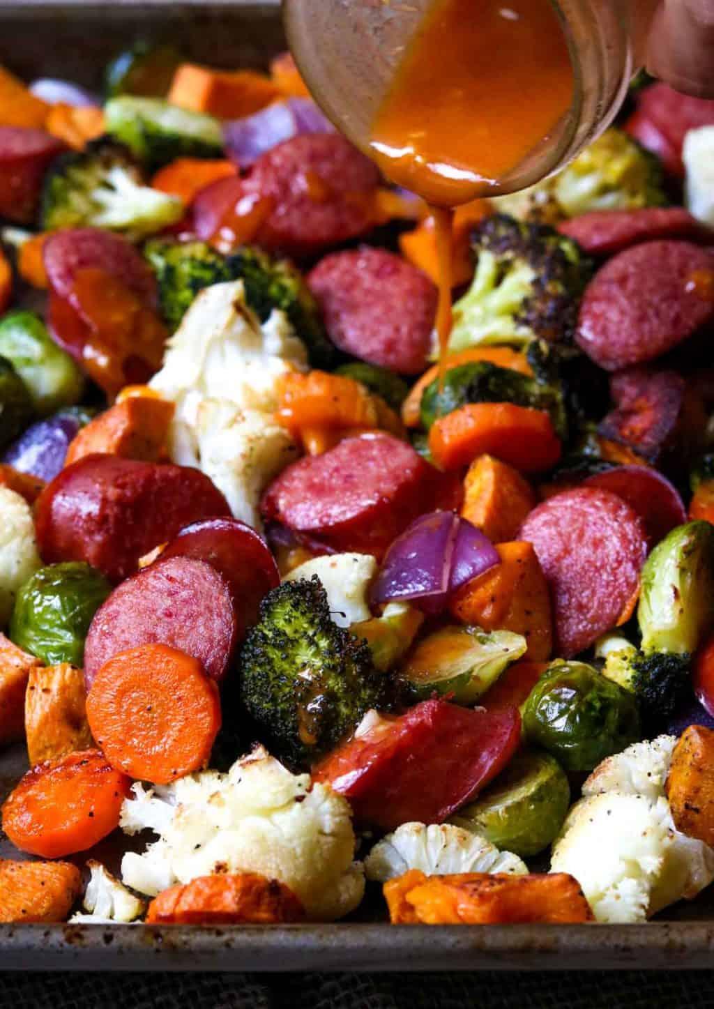 Sheet pan beef sausage and veggies with smoked paprika vinaigrette