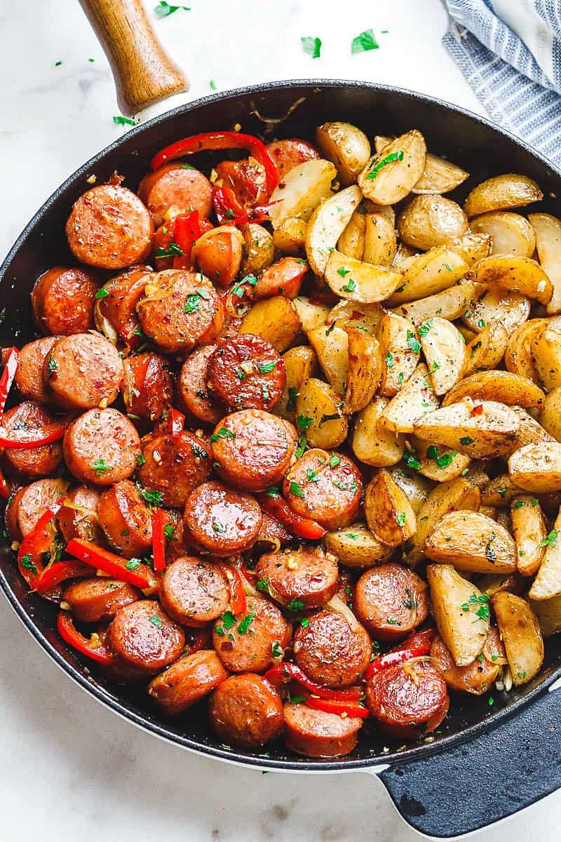 Smoked sausage and potato skillet dinner