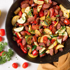 Smoked sausage zucchini skillet