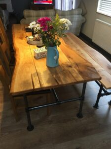 Steel Tube Handcrafted Live Edge Table