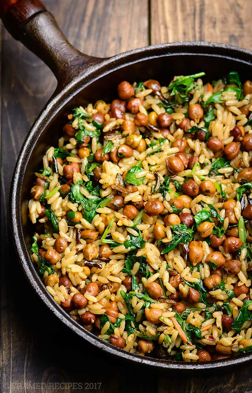 Wild rice and black garbanza beans