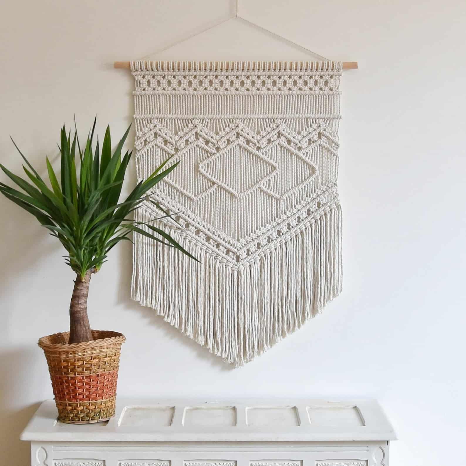 Azurite macrame pattern wall hanging
