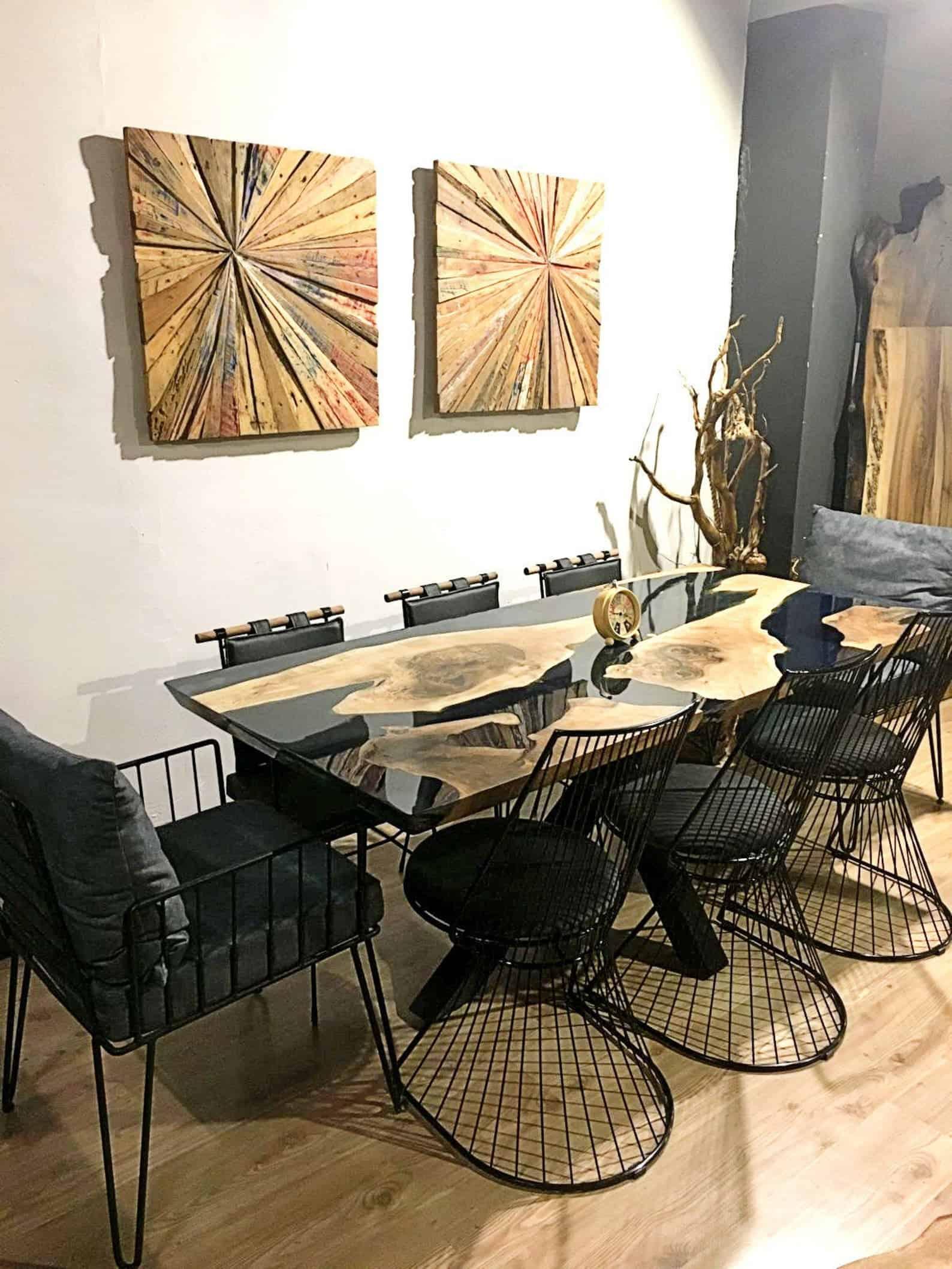 Black epoxy river table