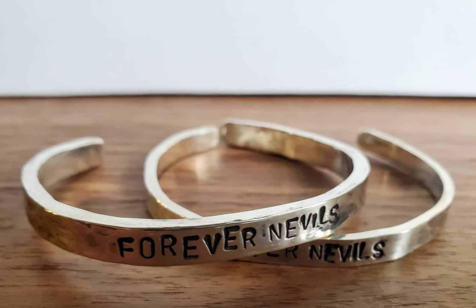 Custom stamped sterling silver cuff bracelet