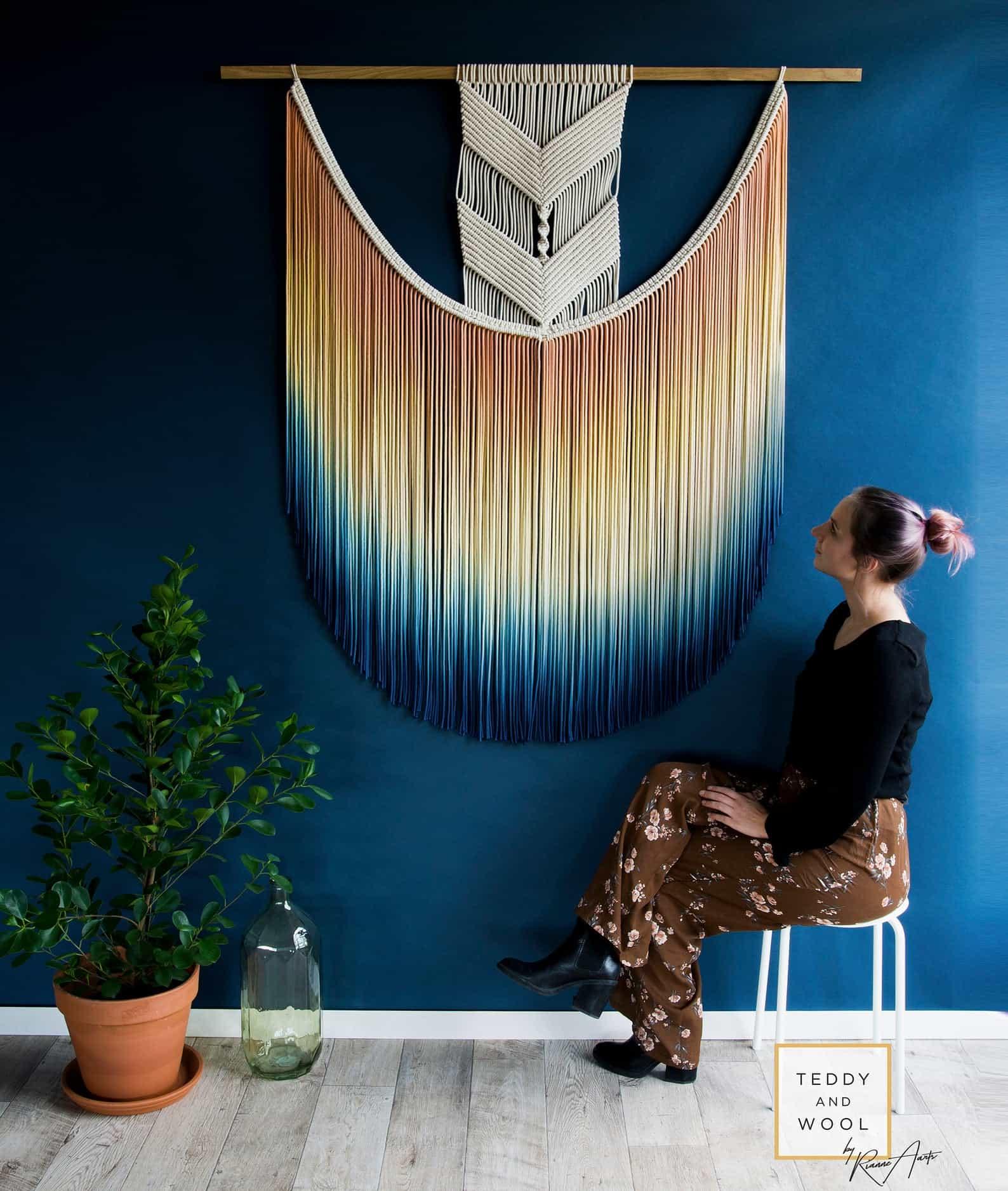 Dip dyed large macrame wall hanging