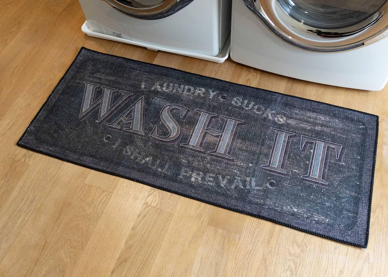 Laundry throw rug