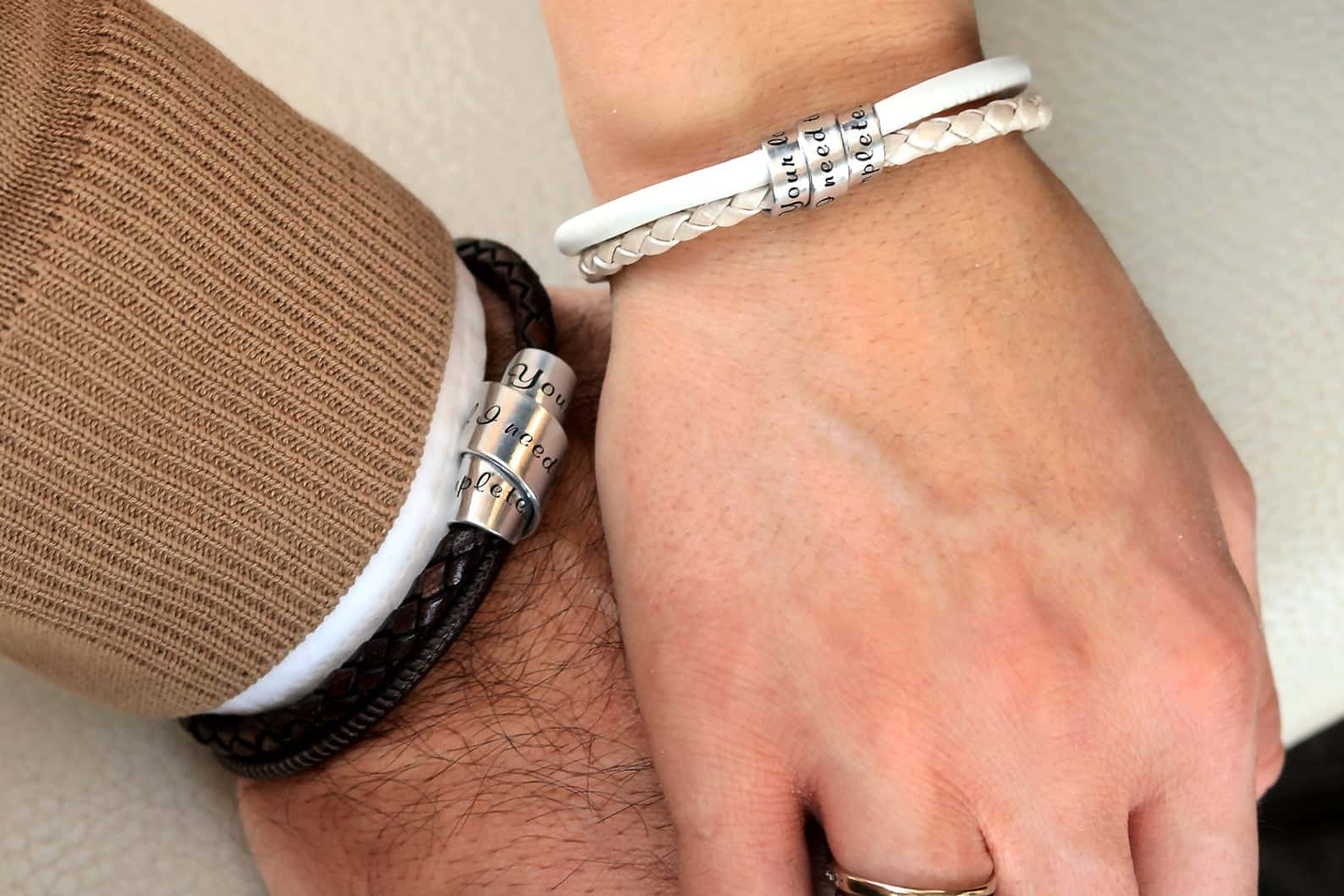 Leather personalized couples bracelets