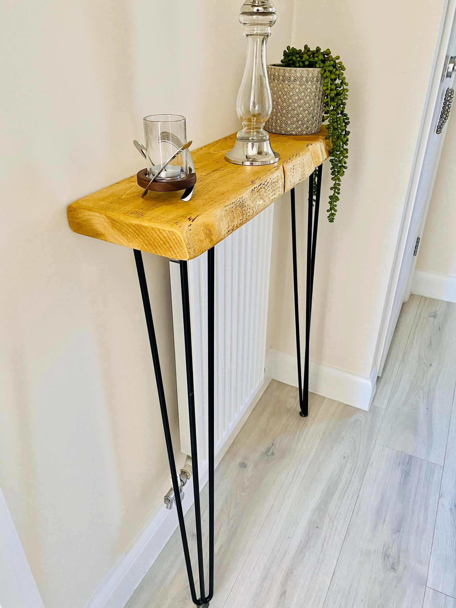 Live edge console table with hairpin legs