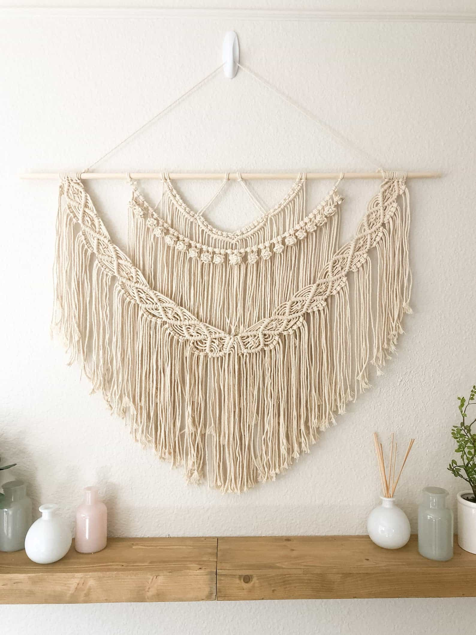 Natural macrame hanging with birch wood