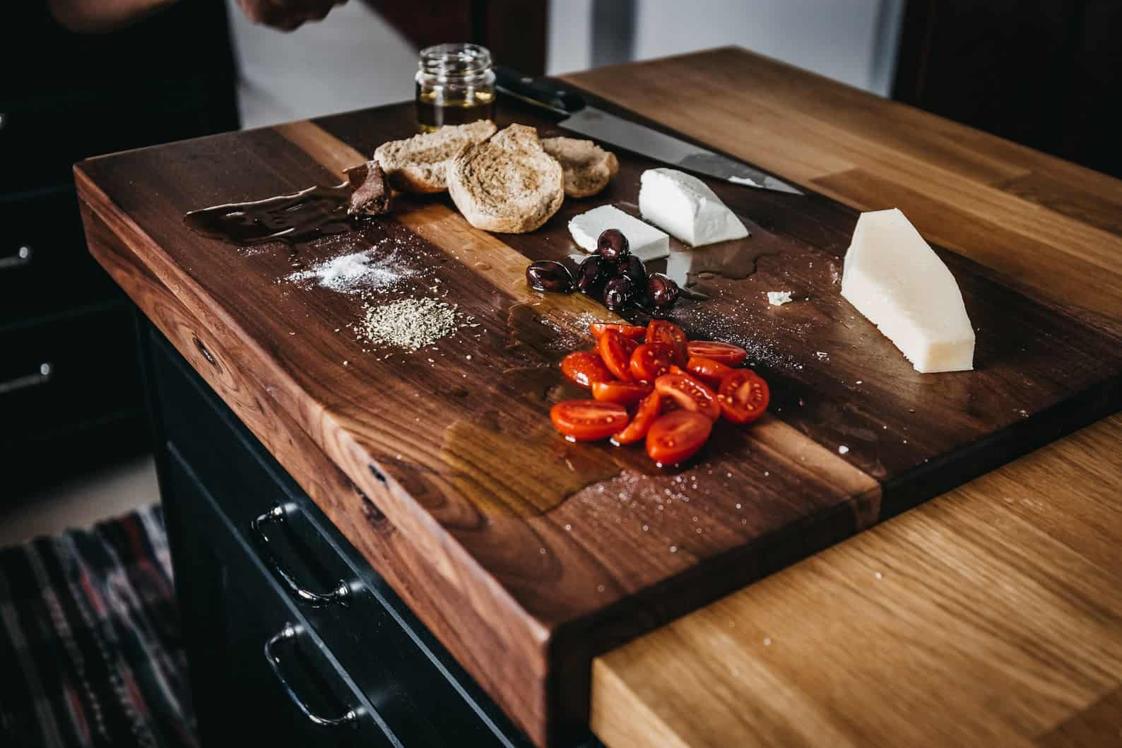 Over counter walnut cutting board