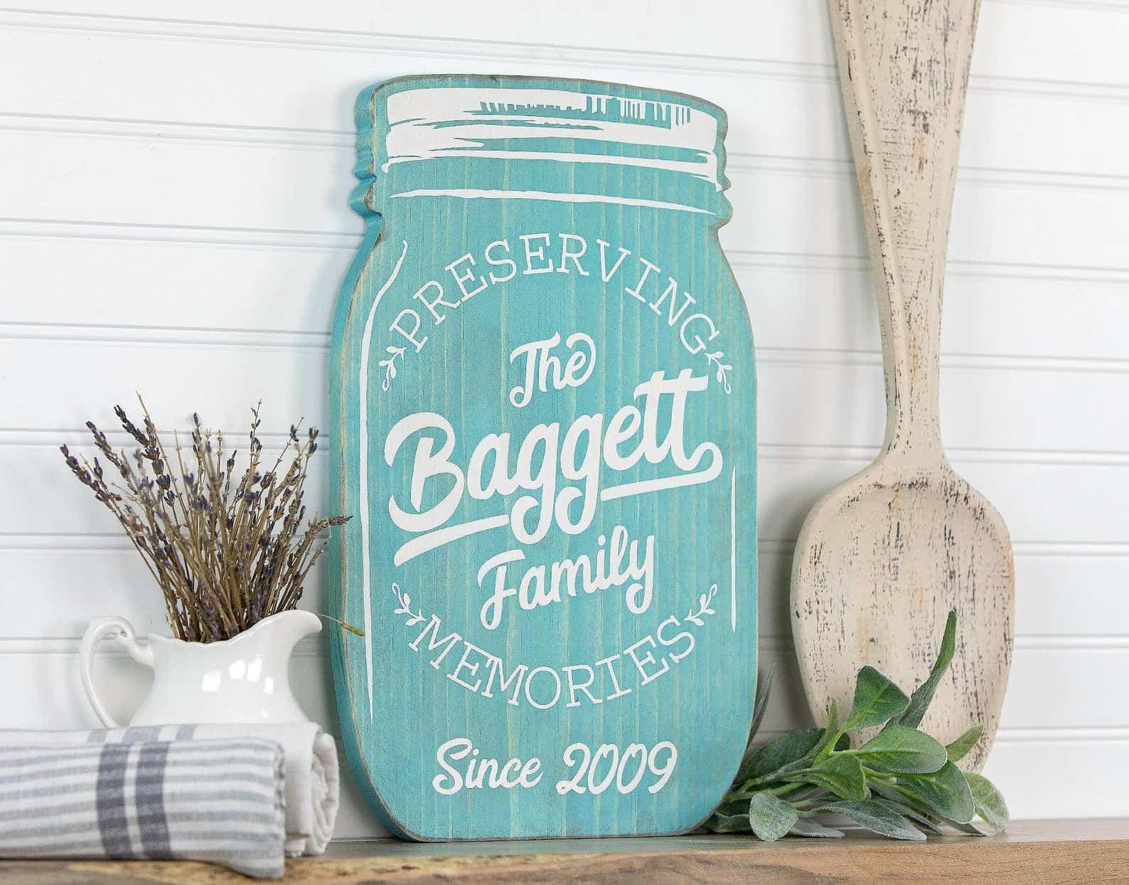 Personalized mason jar shape