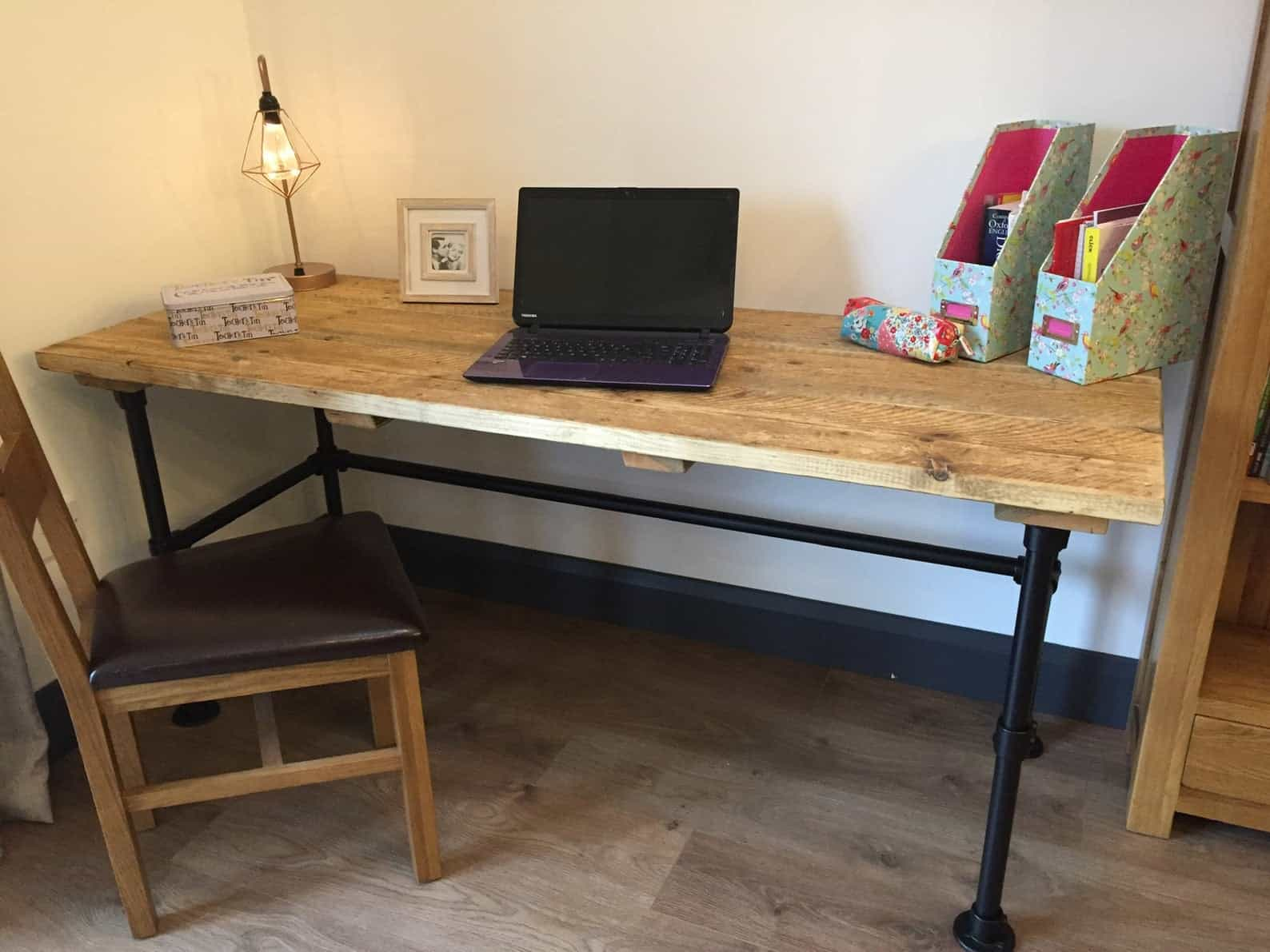 Rustic office computer table industrial steel tube