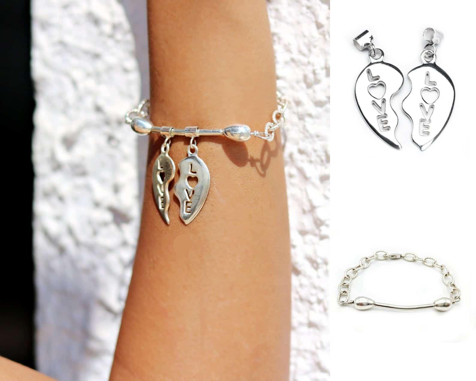 Silver split heart bracelet