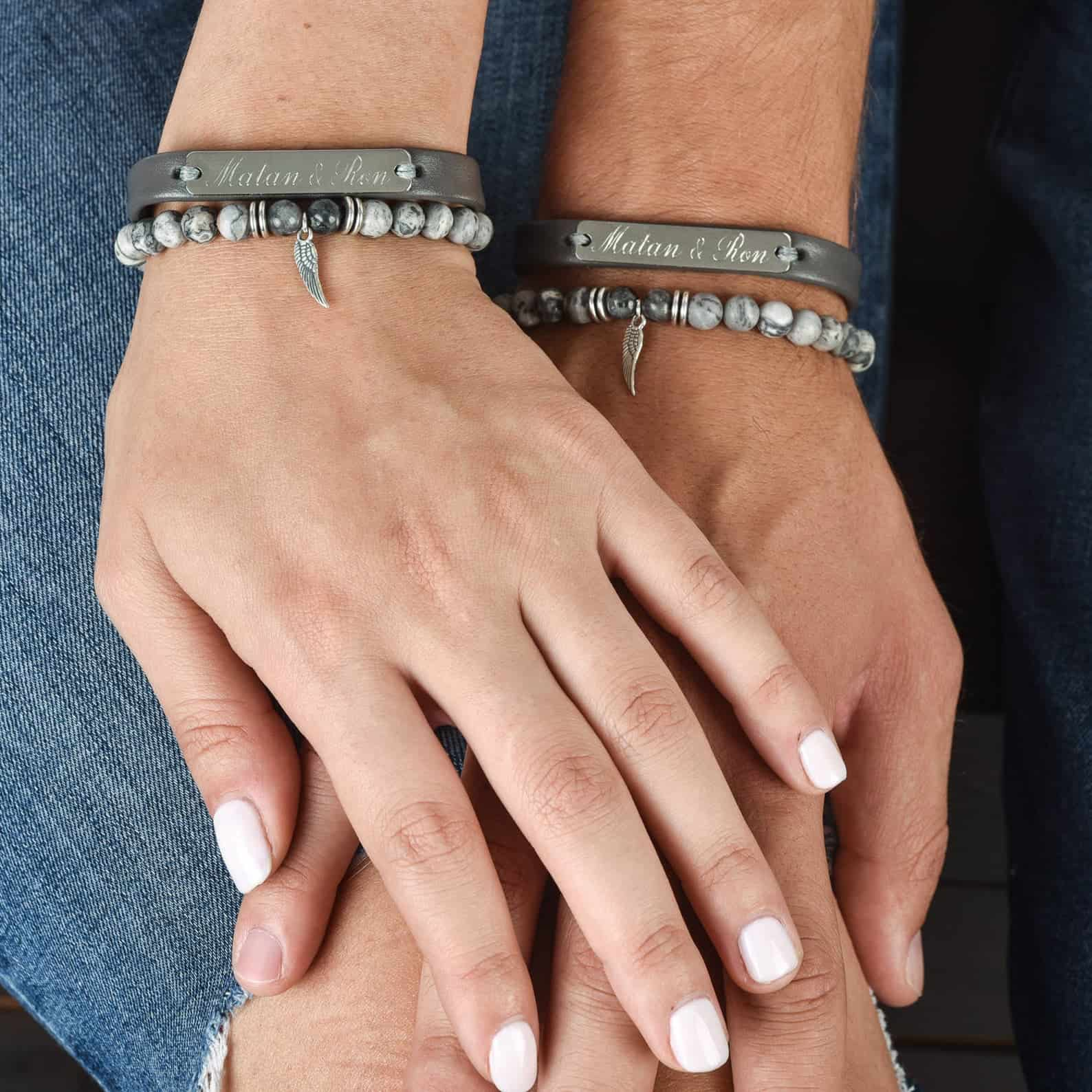 Stainless steel personalized couples bracelets