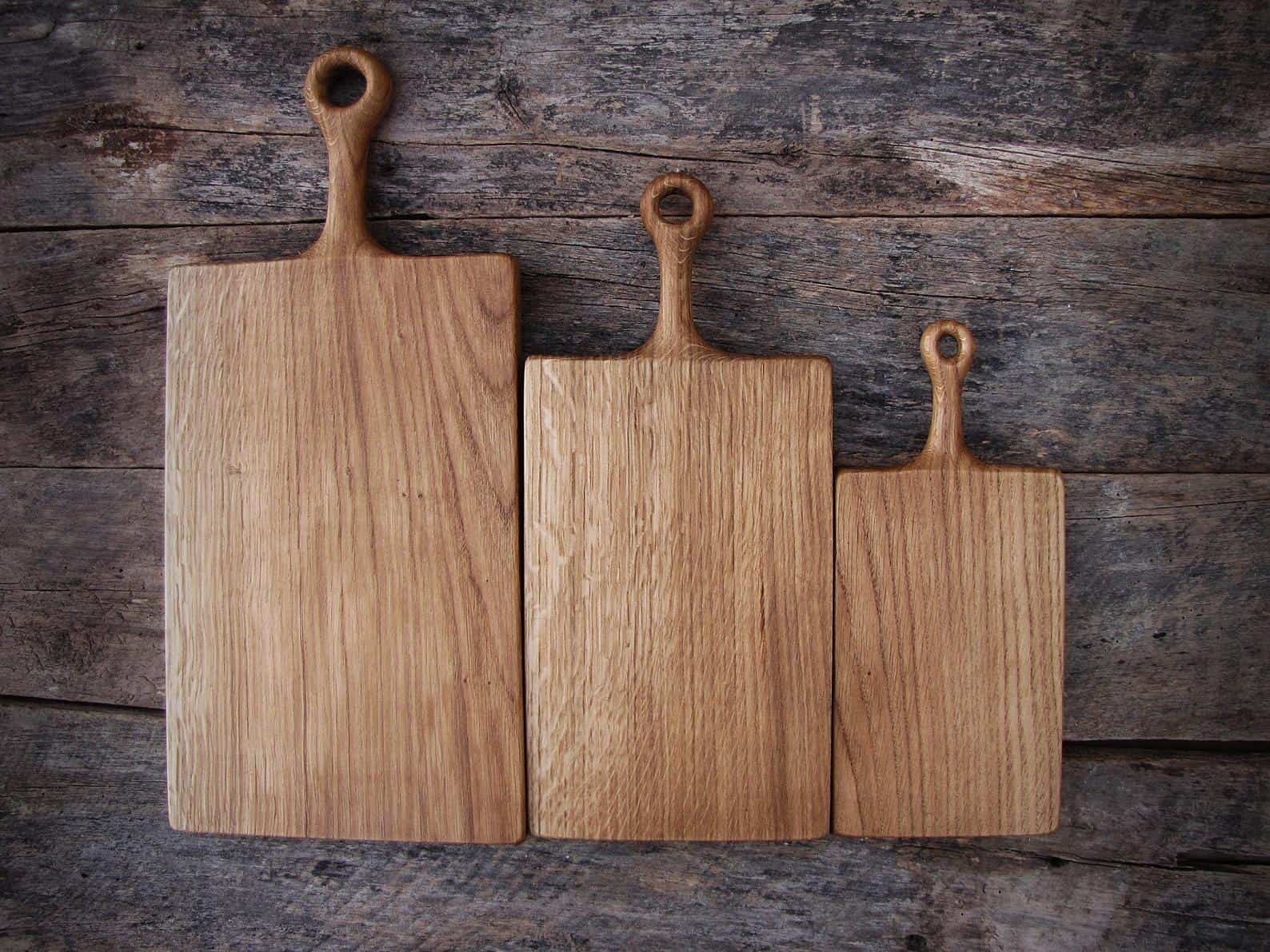 Wooden oak chopping boards with handle