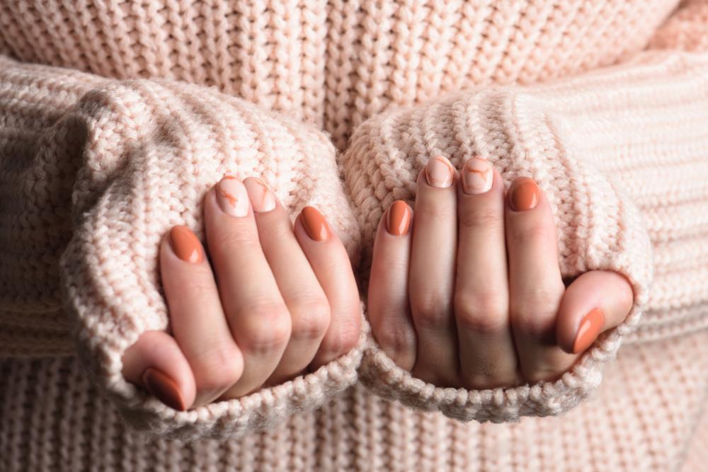 Cute nail designs marbled orange