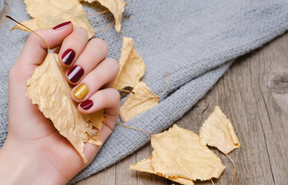 Good nail colors burgundy and gold