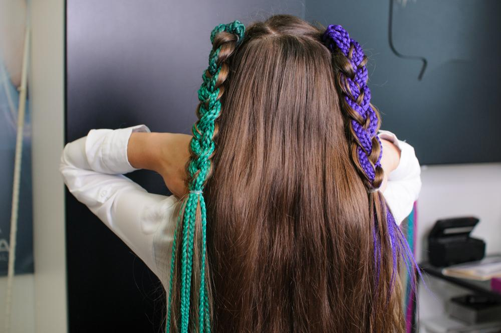 Colorful pigtail braids