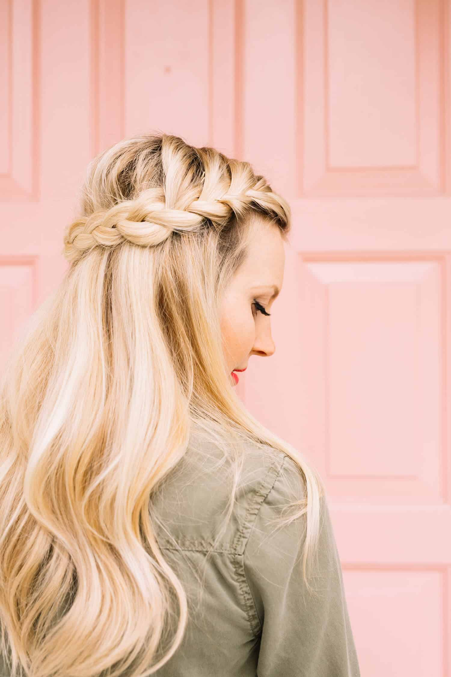 French braid half crown