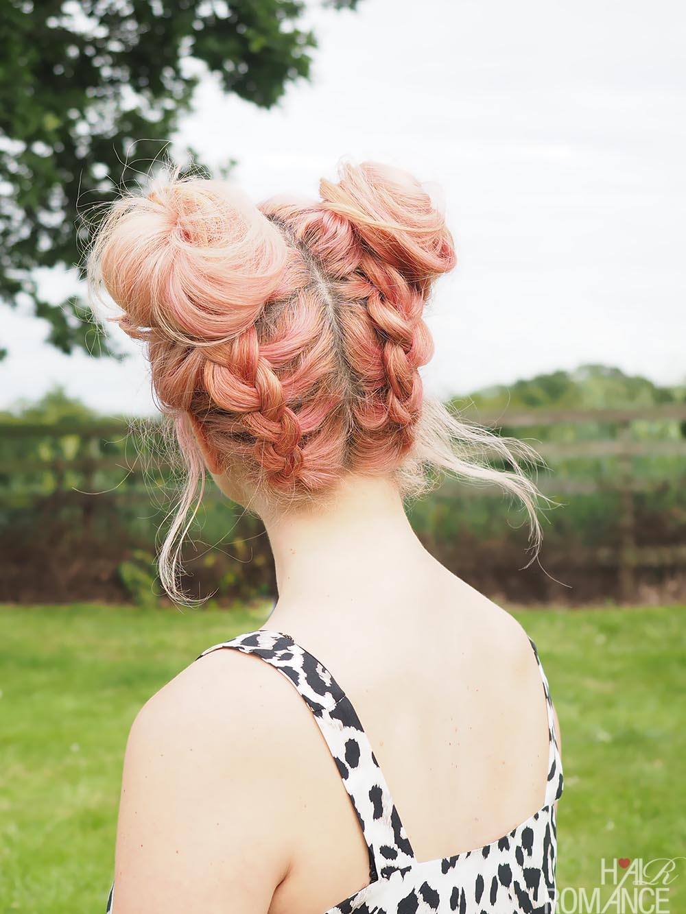 Hair romance festival hair double braided space buns tutorial
