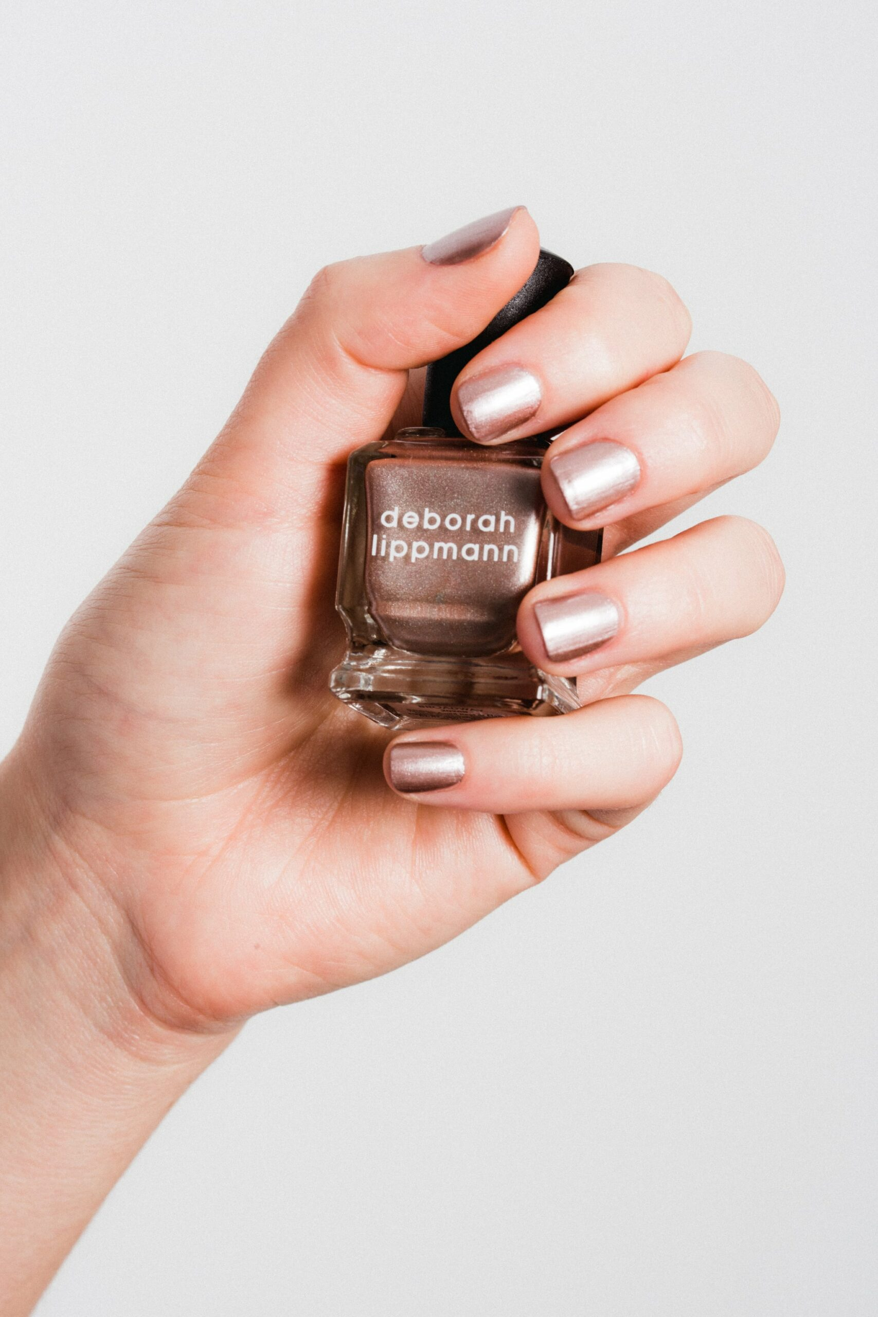 Deep rose gold manicure