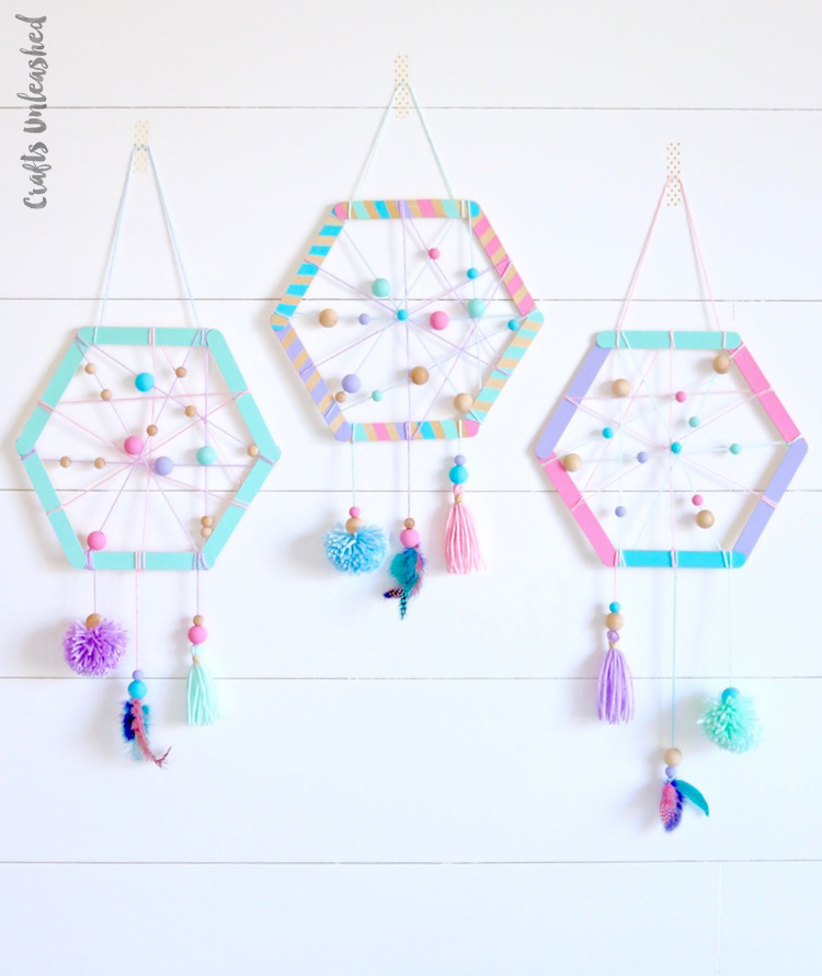 Diy hexagon dream catcher