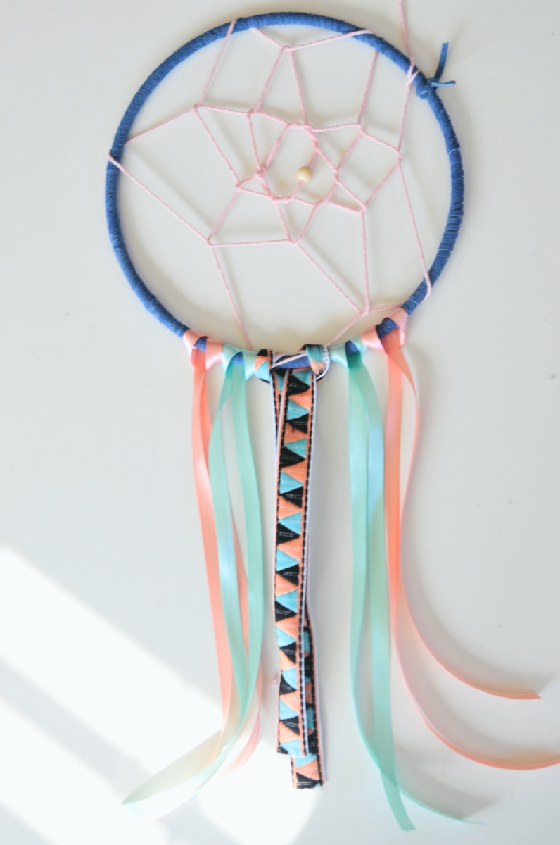 Ribbon leather dreamcatcher diy