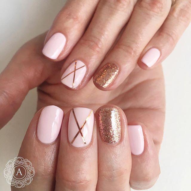 Rose gold and pink nail art
