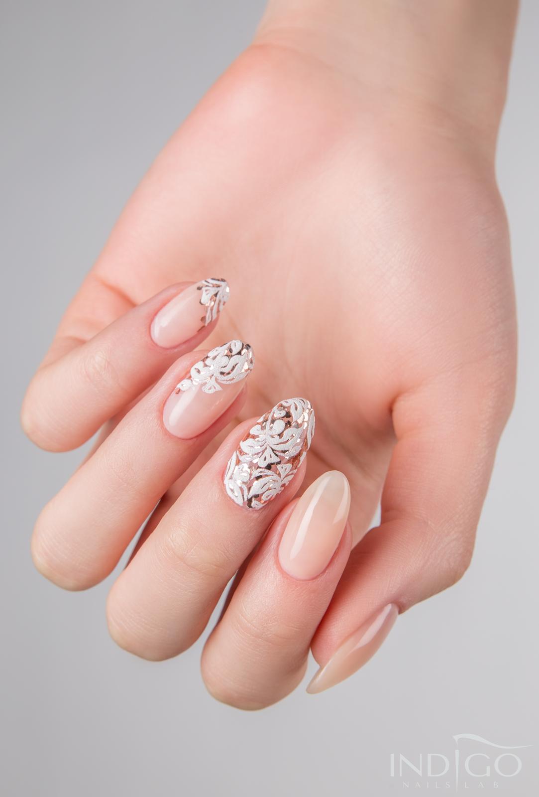 Rose gold floral nails