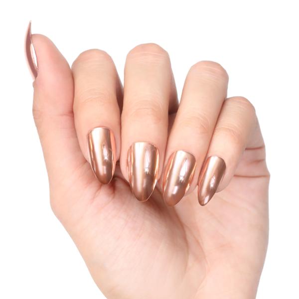 Rose gold stiletto nails