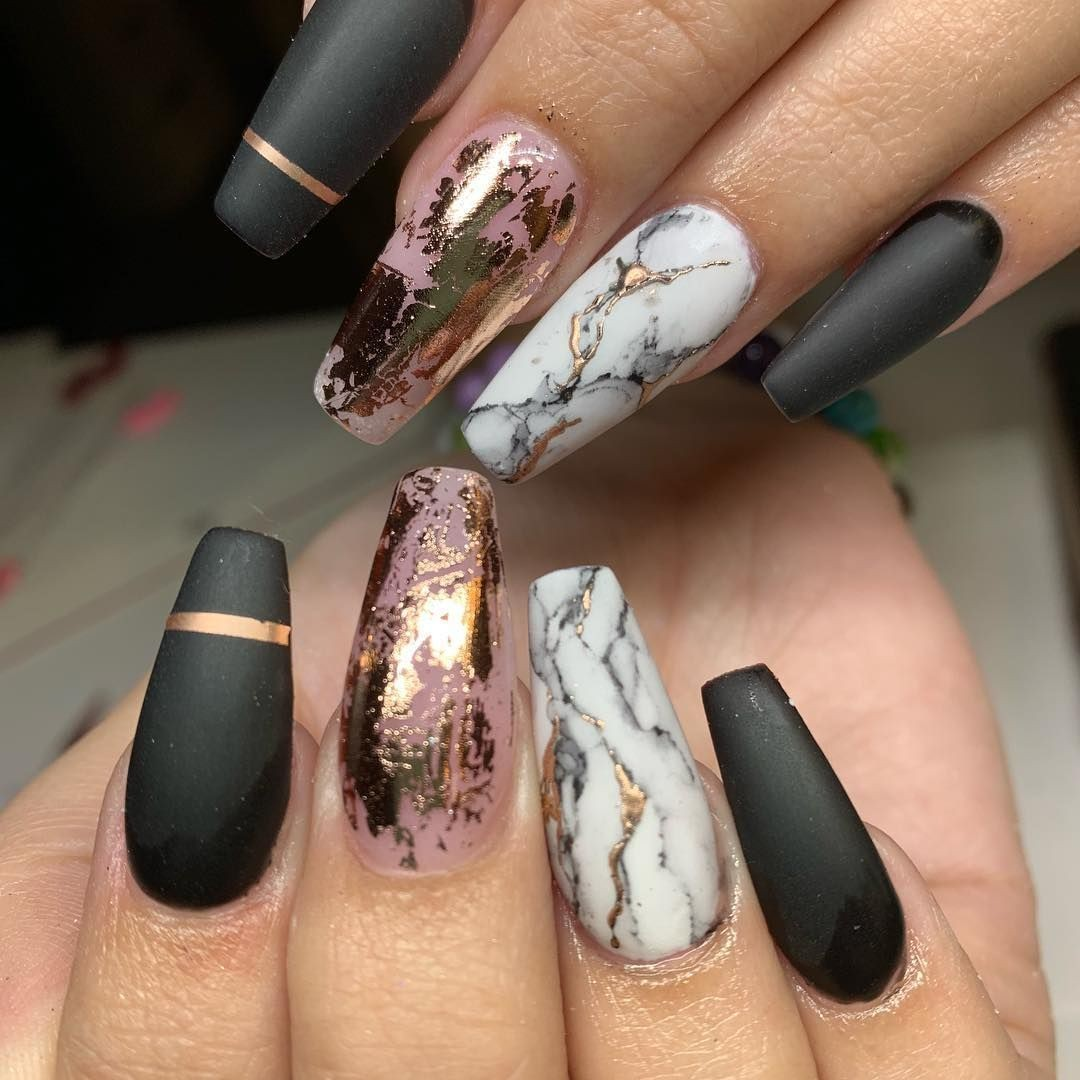 Rose gold with marble nails