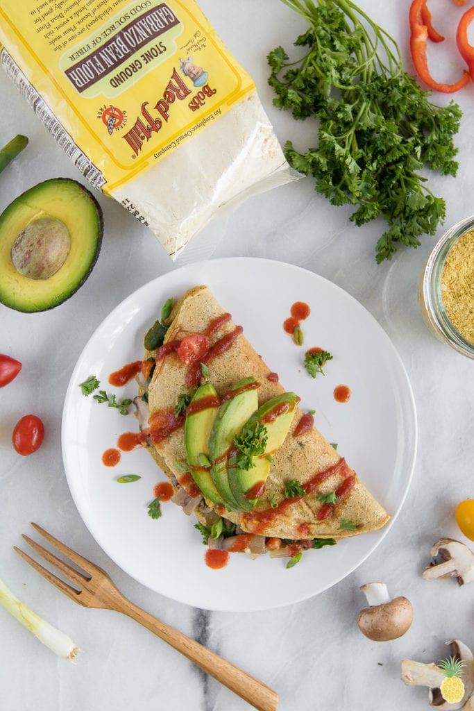 Loaded vegan chickpea omelette