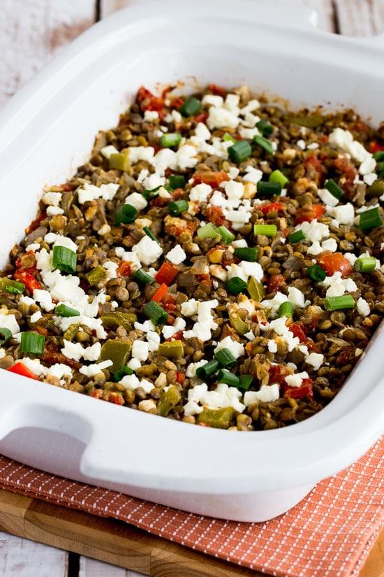 Slow cooker greek lentil casserole