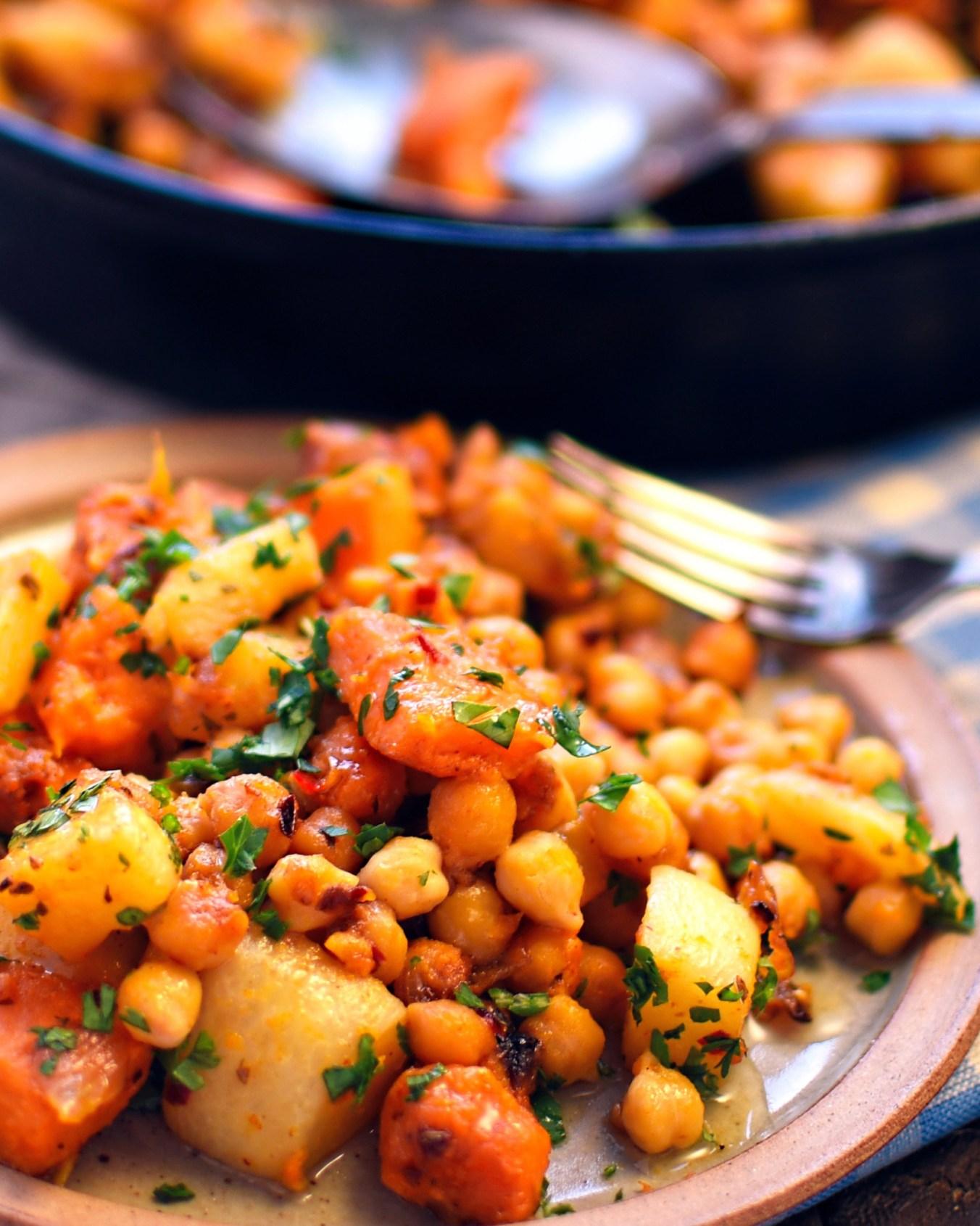 Sweet potato, turnip, and chickpea hash