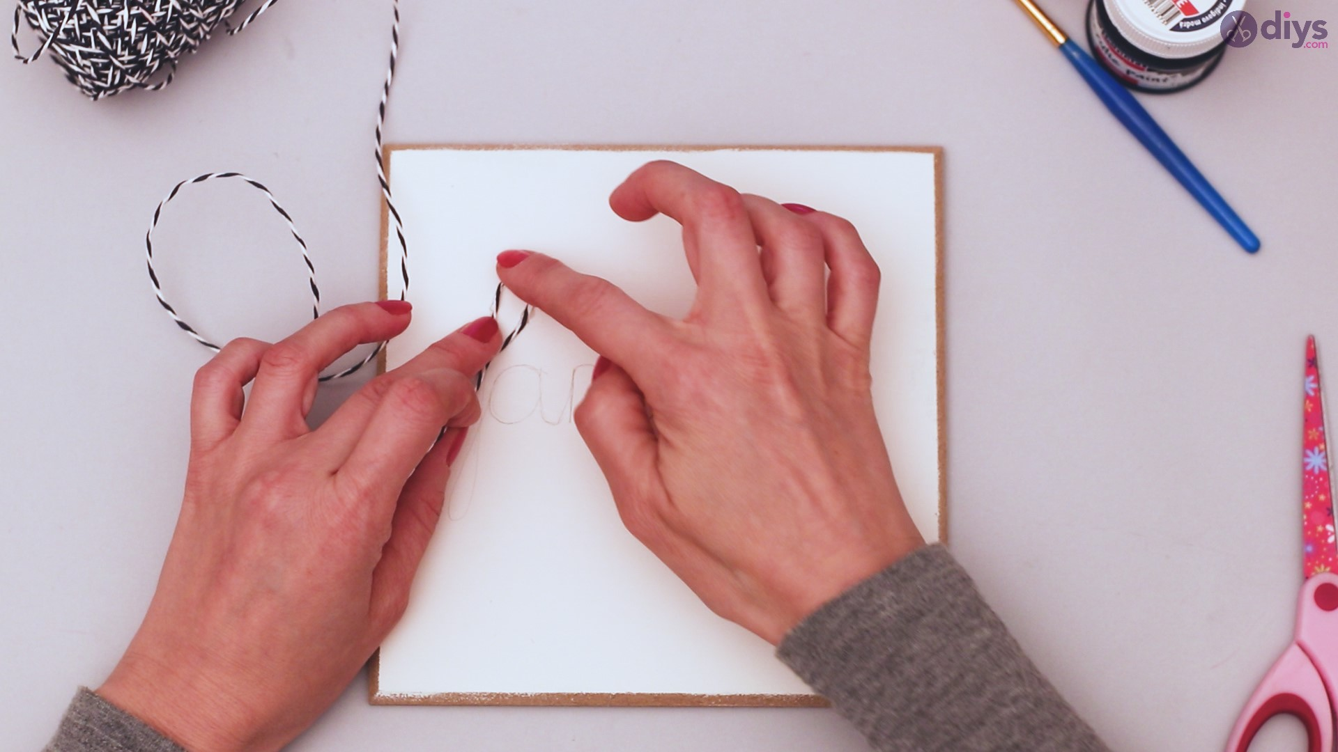Twine string wall decor diy simple project (10)