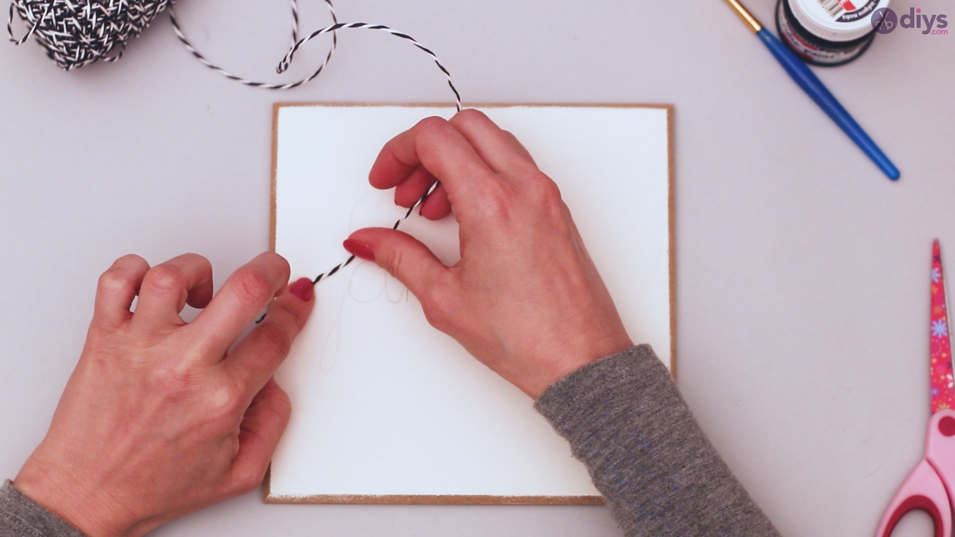 Twine string wall decor diy simple project (8)