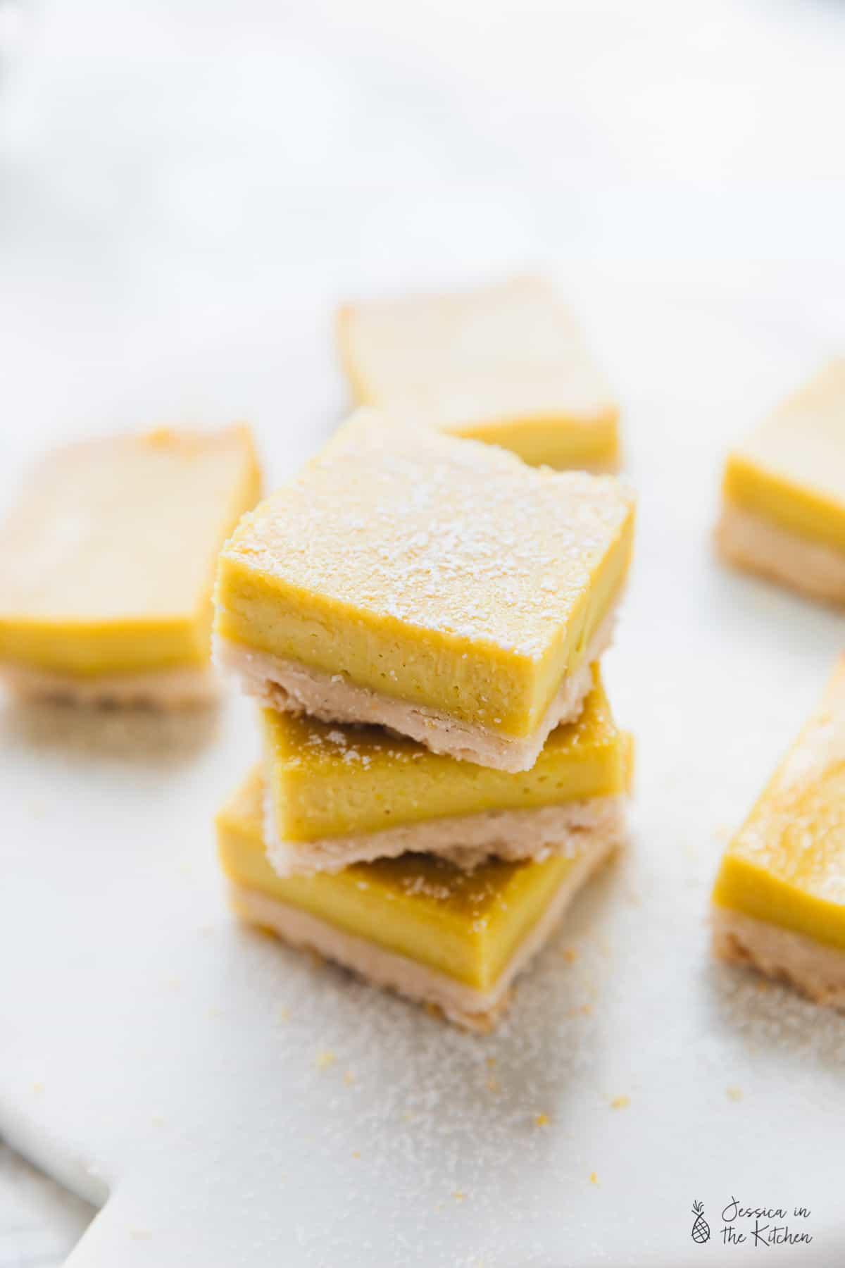 Gluten free and vegan lemon bars