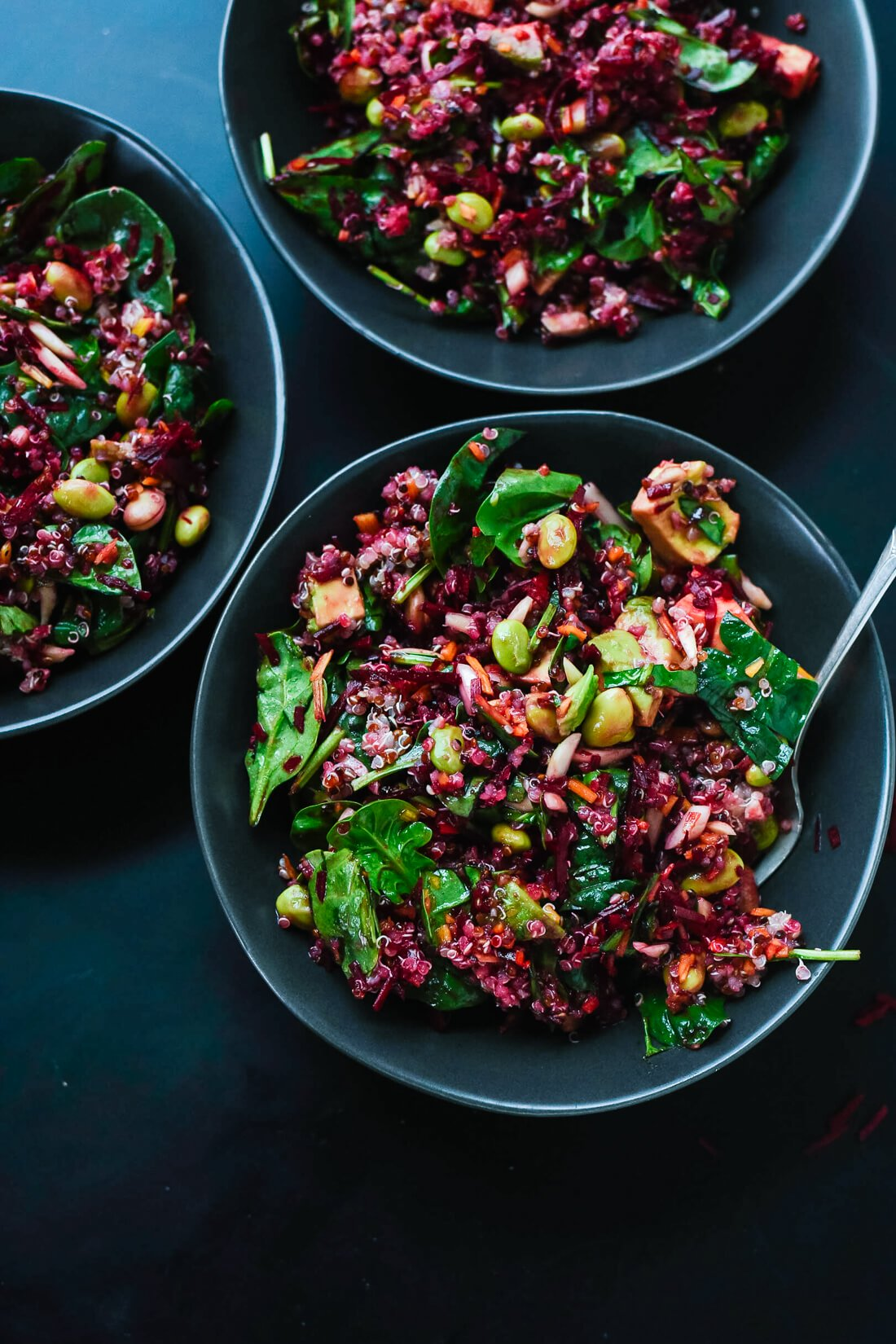 Raw beet salad with carrot quinoa spinach recipe 4