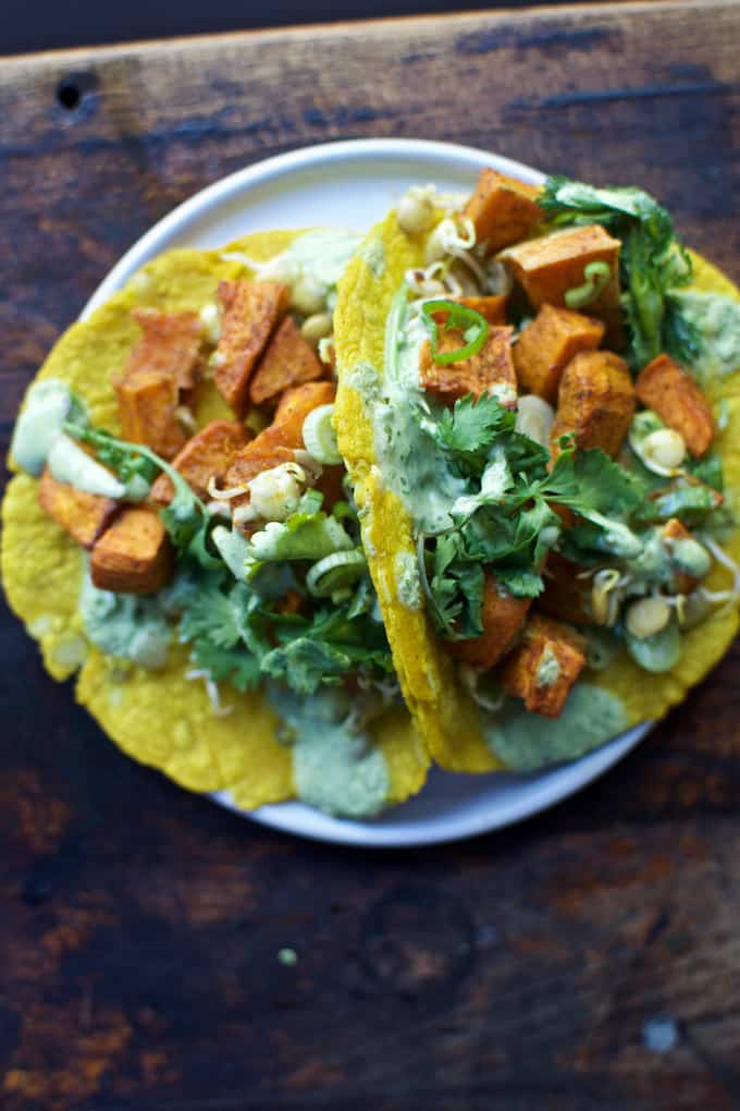 Sweet potato and lentil tacos