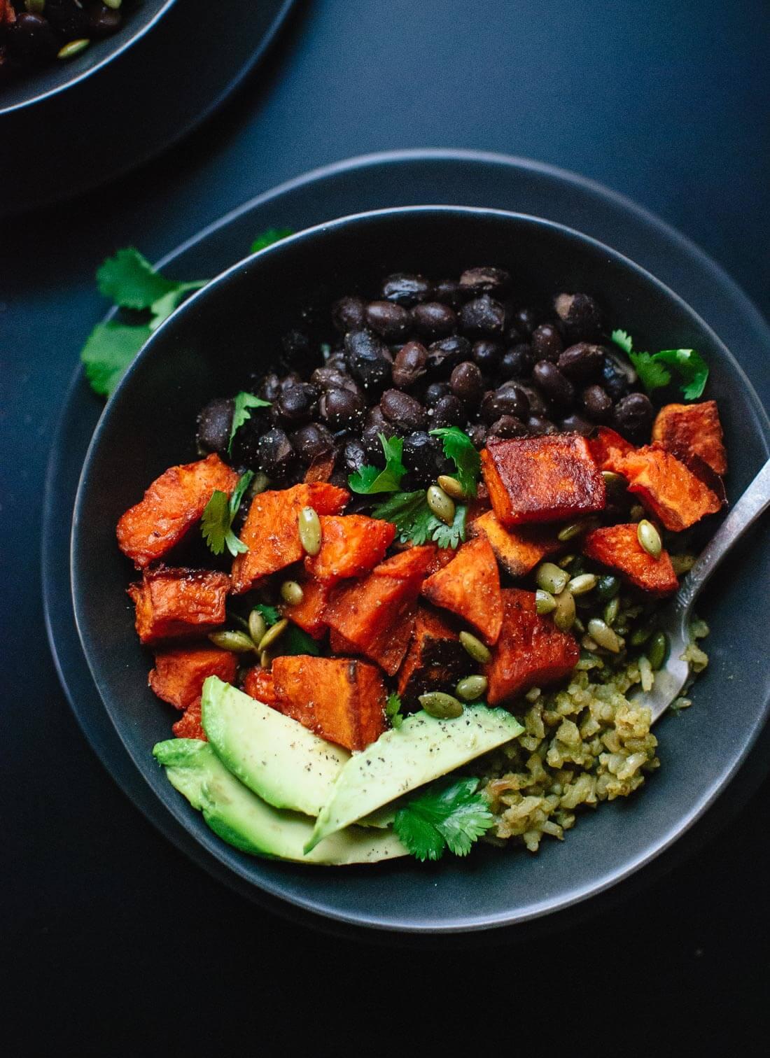 Sweet potato green rice burrito bowls 1